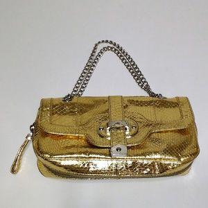 Rafe gold embossed faux snakeskin chain handbag